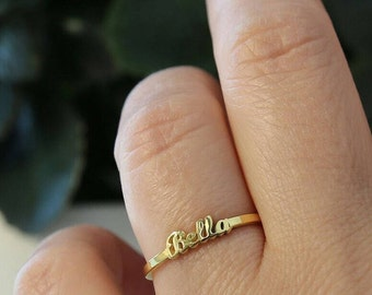 Dainty Gold Name Ring-Name Ring-Gold Jewelry-Name jewelry-Bridesmaid Gift-Personalized Gift-Personalized Ring-Personalized Jewelry