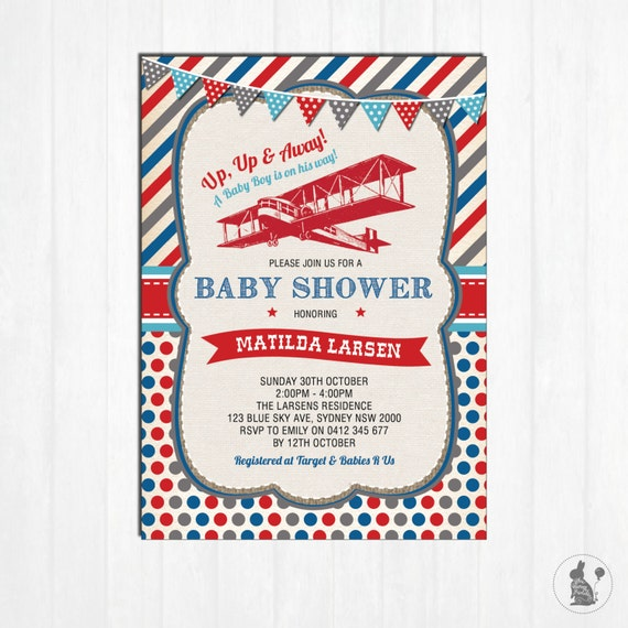 Airplane Birthday Party Get Ready For Takeoff: Vintage Airplane Baby Shower Invitation. Plane Baby Shower