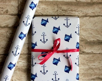 Maritime gift paper Anchor and fish