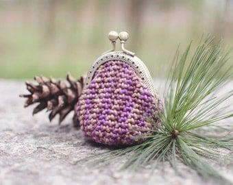 Coin purse, crochet purse mod. 100% cotton-purple hydrangea gradient