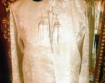 Vintage 1950's Asian Satin and Velveteene Jacket
