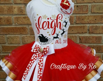 Christmas Outfit for Girls - Sleigh Tutu Set - Holiday Outfit - Holiday Pictures