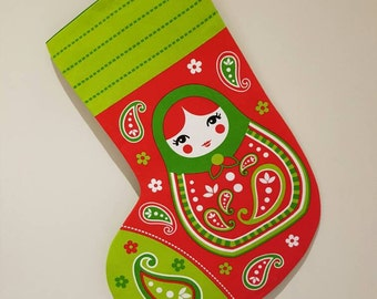 Handmade babushka christmas stocking, russian doll stocking, Christmas stocking, russian doll, babushka.