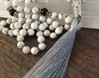 Soothing Howlite Mala, gemstone mala, prayer beads, mala necklace, yoga jewelry, healing crystals, calming