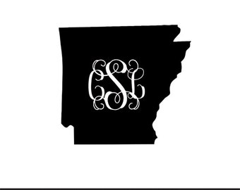 arkansas vine monogram included svg dxf jpeg png file stencil monogram frame silhouette cameo cricut clip art commercial use
