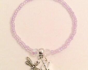 Initial and charm elastic bracelet