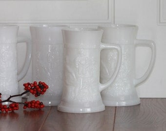 Vintage Milk Glass Beer Steins, Federal Beer Steins, Vintage Barware, Gift For Him, Fathers Day, Listing For 1 Stein,  Beer Stein