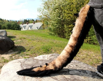 READY TO SHIP - Premade Fluffy Furry Angel Dragon Fursuit Tail with Minky Spikes and Feathers