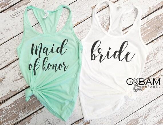 Bride Tank Top / Bridal Party Tank tops / Bridesmaid Tank / Maid of Honor Tank / Bachelorette Party Tanks!
