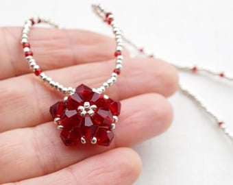 Real SWAROVSKI Red Crystal Necklace Red Flower Necklace Petite STERLING Silver Necklace Dainty Necklace Love Valentines Day Gift Birthday