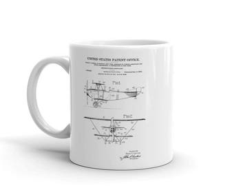1919 Curtiss Biplane Patent Mug - Patent Mug, old patent Mug, aviation Mug, airplane Mug, pilot gift, Biplane Mug