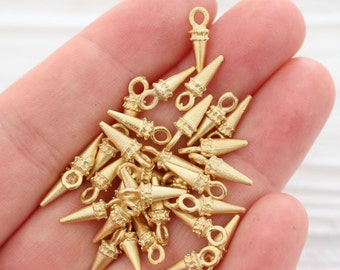 15pc gold spike beads, dagger charms, earring charms, spikes, gold metal charms, gold beads, bracelet charms, tiny beads, rustic, dagger