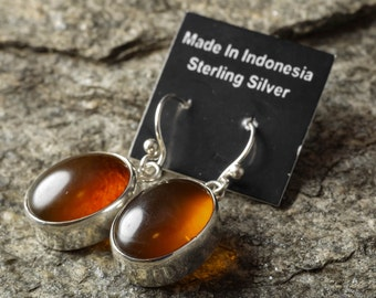 3.25cm Sterling Silver Bezel Set Natural Amber Earrings - Silver Jewelry Amber Cabochon Drop Earrings J766