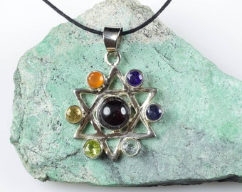7 Chakra Necklace - Sterling Silver Necklace with 7 Chakra Pendant - Star Necklace Chakra Jewelry J904