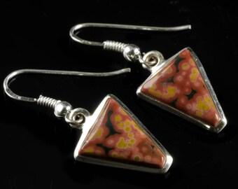 3.5cm OCEAN JASPER Earrings Bezel Set in Sterling Silver - Natural Jasper Cabochon Drop Earrings J572
