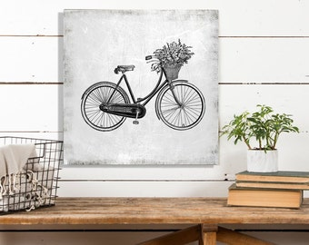 Bicycle with a Basket, Vintage Bike, Vintage Poster, Black and White Print, Vintage Bike Print, Printed on Canvas, Canvas Wall Decor