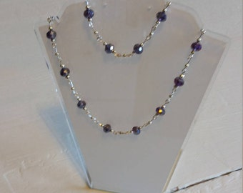 Purple Czech crystal glass bead necklace and bracelet.