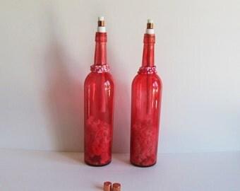 Red Wine Bottle Citronella Torch, Red Tiki Torch, Citronella Torch, 2 Tiki Torch Set, Wine Bottle Decor, Tiki Torch