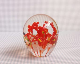 Vintage 1960s Teardrop Shaped Red Coral Crown Glass Paperweight - unsigned