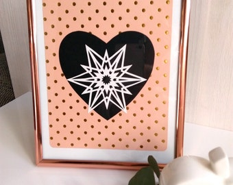 Heart postcard, card for lovers, Declaration of love, postcard, paper cut, paper, gift card heart
