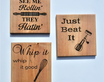 Wood Kitchen Sign / Baker's sign / Wood Kitchen Sign / Kitchen Plaque / They see me rollin they hatin, Just beat it, Whip it, whip it good