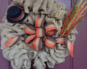 Turkey Wreath, Turkey Burlap Wreath, Fall Wreath, Fall Burlap, Thanksgiving Wreath, Thanksgiving Burlap, Thanksgiving Turkey Wreath