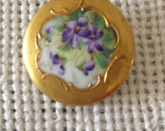 Antique Victorian Hand Painted Porcelain Button--Violets With Thick Gold Border--Antique/Vintage Sewing Accessories--Antique Floral Button