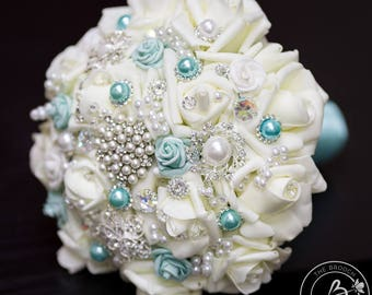 Brooch wedding bouquet, Aqua brooch bouquet, turquoise brooch bouquet, spa teal brooch bridal bouquet, jeweled bouquet roses and brooches