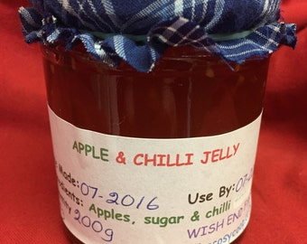 Chilli & Apple Jelly,  Food Gift, Hot Chillies, Birthday Gift, Gifts for him, Hostess Gift, Chutney, Christmas Gift