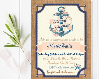 Digital file or Printed-Nautical Bridal Shower-Nautical Baby Shower-Under the Sea-Anchor Invitation-Turquoise-Gold-Customize-Free Shipping