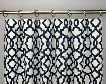 Navy Blue Moroccan Curtains - FREE SHIPPING - Blue Quatrefoil Rod-Pocket Drapes -Grommets - Lined/Unlined - Valance- 24 50 x 84 96 108 120