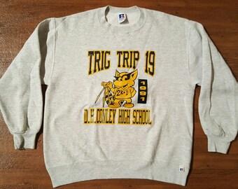 Vintage Sweatshirt 1990s High School Sweatshirt Varsity Sweatshirt Crew Neck Russell Sweatshirt Normcore Sweatshirt Grunge Baggy