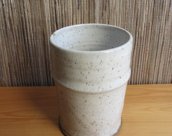 Pottery kitchen utensil holder, speckled white kitchen crock, handthrown pottery, farmhouse white