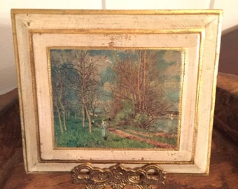 """Vintage Florentine Wall Plaque Featuring 1881 Work Entitled """"The Small Meadows In Spring"""" by Alfred Sisley   Made in Italy"""