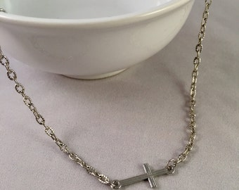 Silver horizontal cross necklace