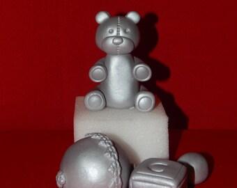 Silver Bear Rattle Baby Block Cake Topper Set Metallic