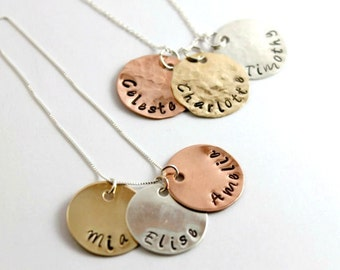 Mom Necklace, Three Names, Mothers Jewelry, Grandmother of 3, Personalized Jewelry