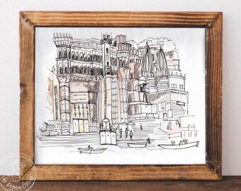 Varanasi India Urban Sketch | Watercolor Illustration | River Ganges Ghats | Cityscape