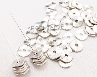 60 pcs 10mm  silver round center with hole bead link connector ,ilver Brass 6mm Round Disc, Middle Hole Connector, Bead Caps, Findings AG152