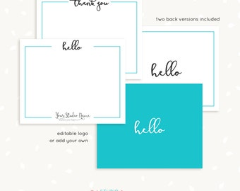 "Note cards for photographers, thank you card template, photoshop template, ""hello"", ""thank you"", custom text & colors, editable, printable"