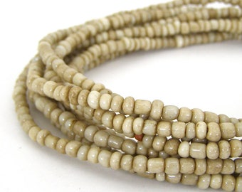 190 Vintage Beige African Trade Glass Seed Beads - 4mm