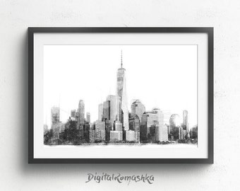New York Skyline, Architect Print, Architecture Art, Architectural Print, Architecture Decor, Office Wall Print, Large Poster, Drawing Art