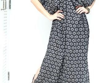 Black White Flower Pattern Chiffon Beach Dress Swimsuit Bikini Cover Up | Casual Maxi Short Sleeve Dress | Spring/Summer Dress