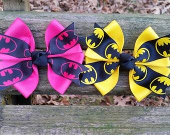 Batman Hair Bows Yellow/Black/Pink (4 inch)
