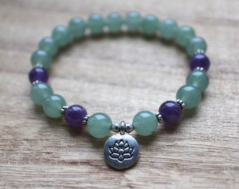 Aventurine and Amethyst Bracelet - Healing Crystals for Luck, Abundance, New Beginnings and Motivation, Optimism and Confidence / 21 beads