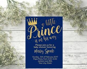 Royal Blue Little Prince Baby Shower Invitation Prince blue and gold invite Boy Baby Shower Invitations Royal Baby Shower Invitation