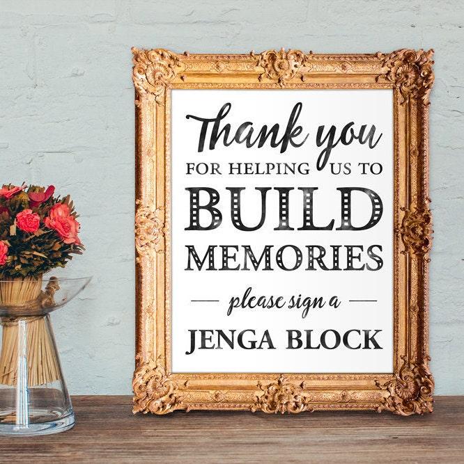 Jenga Block Wedding Guest Book Build Memories Sign A Jenga