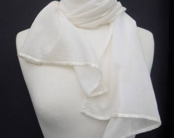 Long Natural Organic Cotton Voile Scarf embellished with Satin Pearl Colour Sequins. Wedding. Bridal. Festival. Beach. Casual.