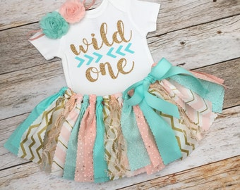Peach/Pink, Mint and Gold Wild One Birthday Outfit with Headband, Baby Girl Wild One First Birthday Outfit, Peach Mint Gold Fabric Tutu