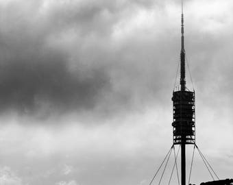 Mount Tibidabo - Barcelona - Wall Art - Fine Art Photography - Minimalist - Wall Art - Black and White - Torre de Collserola - 0072